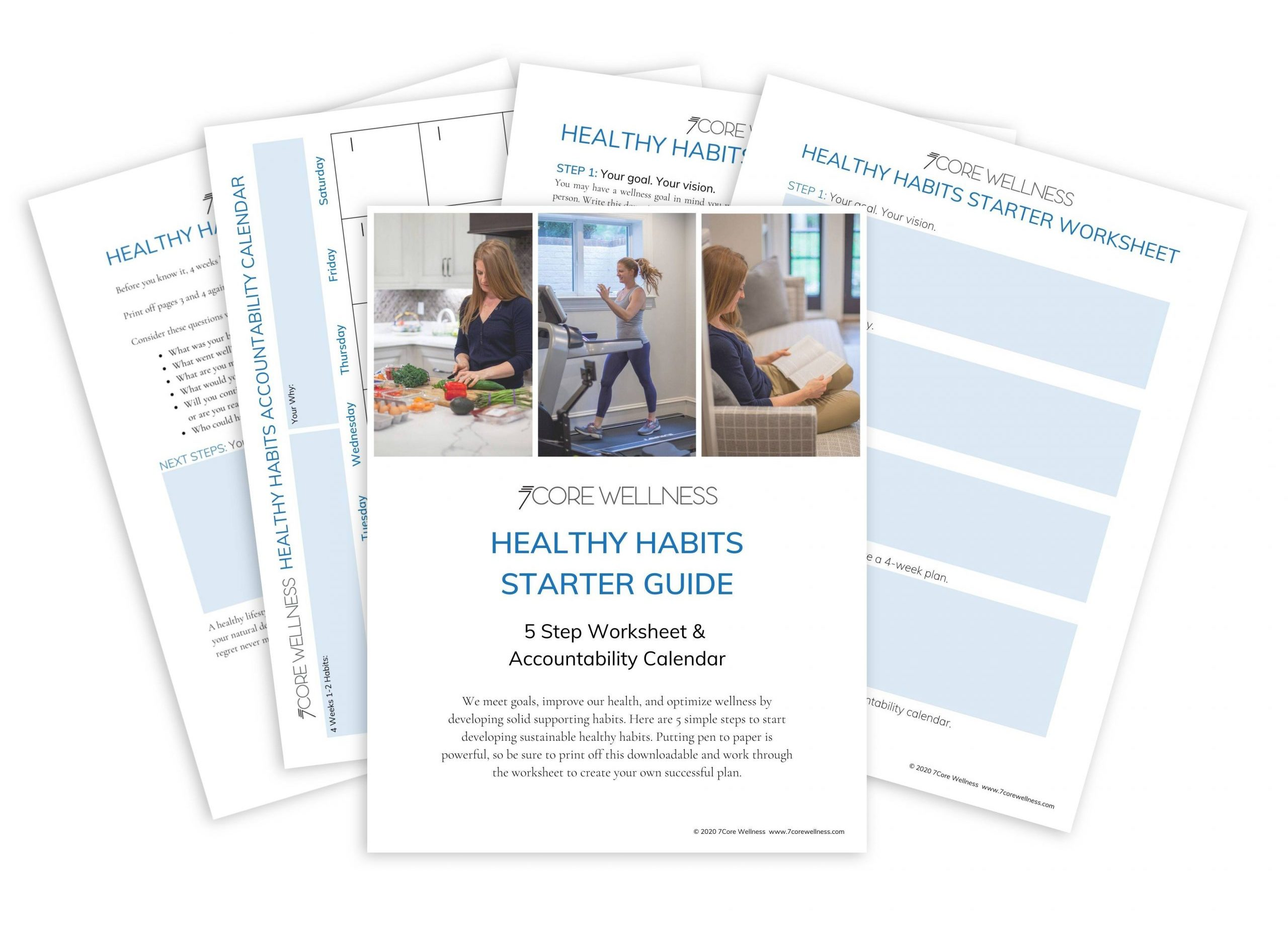 flat lay of healthy habit start guide downloadable - 5 pages fanned out